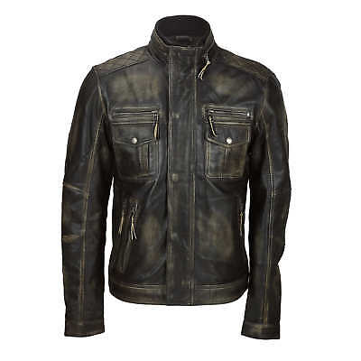 Mens Vintage Rub off Real Leather Biker Jacket Smart Casual Retro Military Style