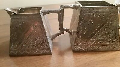 James W. Tufts Triple Plate Silver Plate Repousse Cream and Sugar Bird Motif