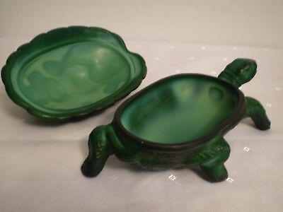 "Cast Iron Metal  8 3/4"" Long  *TURTLE*  Trinket Box ~ Perfect Original Condition"
