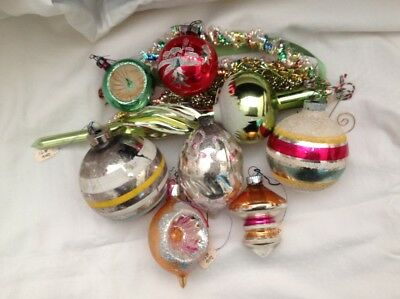Lot of 8 Vintage Green Gold Red Shiny Brite, Commodore Glass Christmas Ornaments