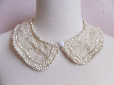 Women's hand made ivory colored peter pan collar with faux pearls and lace