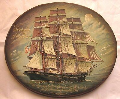Antique Clipper Wooden Painting Sovereign of the sea 19c
