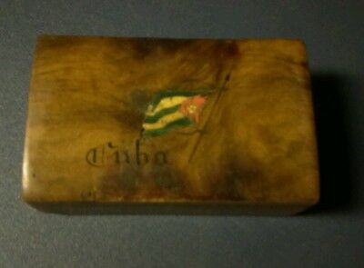 Rare antique wood box Cuba flag souvenir hand carved and painted in great shape!