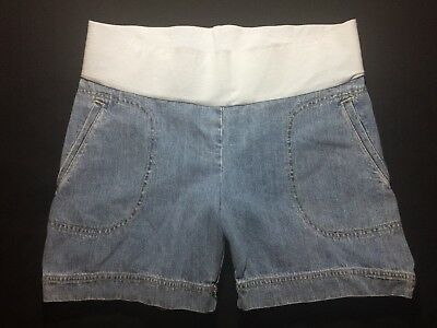 New With Tag Small C SPORT MATERNITY Blue Denim Belly Band Shorts Front Pockets