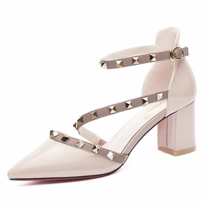 Girls Womens Ankle Strap Pointed Toe Block Heel Pump Shoes Rivet Patent Leather