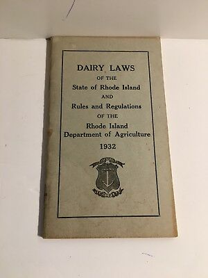 1932 Dairy Laws Rhode Island Rules Regulations Department of Agriculture