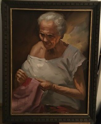 Beautiful Vintage Portrait Oil On Canvas Of Elderly Woman