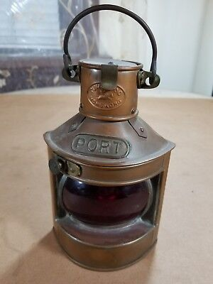 Copper and Brass Port Side Oil Lamp 8 inch Vintage Light