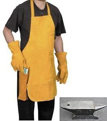 NEW MILLER ALL Leather Apron and Gloves Metalwork Shopmithing BLACKSMITHING SET