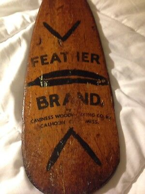 "41"" Tall Antique Advertising Wooden Feather Brand Paddle. Amazing Patina/History"