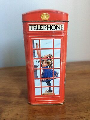 "Churchill's Toffees ""Telephone Kiosk"" Metal Bank Tin 7"" Tall ENGLAND"