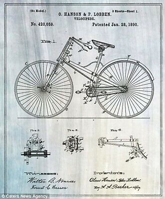 Bicycle 1890 Framed Graphic Art Real Vintage Patent Drawings Illustrations Decor