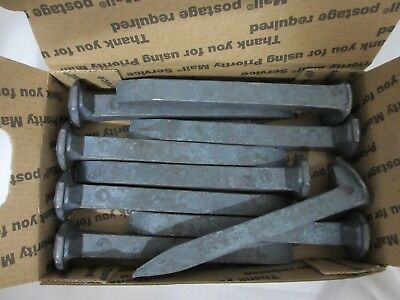 Lot Of (9)  *high Carbon*  Steel - Railroad Spikes - Blacksmith -  Knives - New