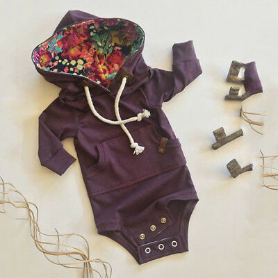 Newborn Baby Boy Girl Floral Hooded Sweater Romper Bodysuit Jumpsuit Outfits Set