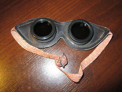 Old dark real leather glasses Small size