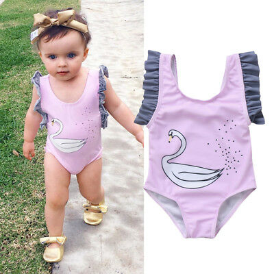 Sweet Newborn Kids Baby Girl Animal Ruffle Swan Swimwear Swimsuit Clothes Purple