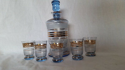 Mid Century Bohemian BLUE Decanter & Glasses Set vintage retro 60s