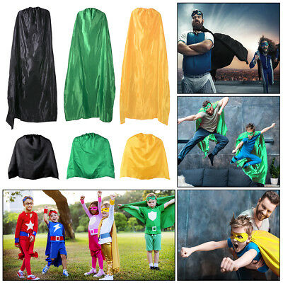 Adult Kid Cape Children Sport Day Superhero Fancy Dress Party Plain Colour Cloak