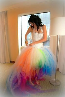 New Rainbow High Low Wedding Dresses Short Front Long Back 2017 Ball Bridal Gown