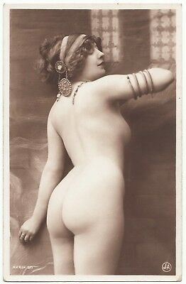 1910 Original French Erotic Rppc Nude Sexy Girl Round Butt Stocking Jean Agelou