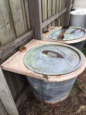 Two (2) Vintage Copper Boilers On Stands