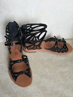 VENTI 12 Woman black colour sandals number 37 patent leather with straps