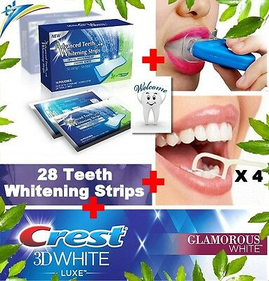 28 Advanced Teeth Whitening Strips + Crest3D  Luxe Teeth Whitening Toothpaste
