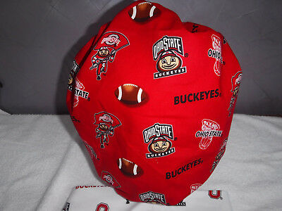 Bouffant surgical scrub hat cap college football ohio state red white