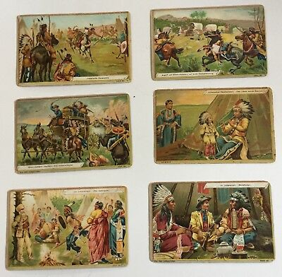 6 Victorian Trade Cards Native Americans German Language