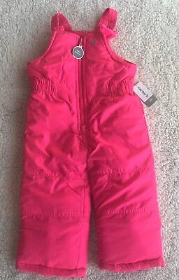 Nwt Girl's Pink Snow Pants Suit Carter's Size 4T Zip Up
