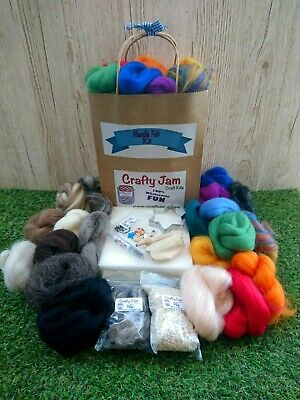 Needle Felting Delux Kit +20 cute project book Wool-19 colours+tools+accessories