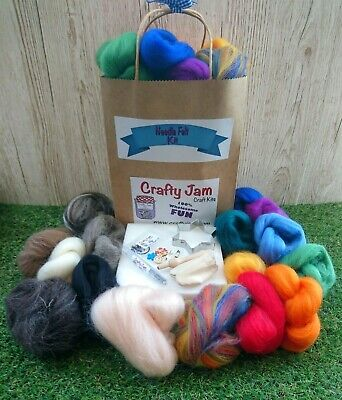 Needle Felting Super Kit +20 cute project book Wool-15 colours+tools+accessories