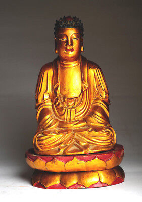 Antiker Buddha China 18. JHD Original 26 cmantique gold B36b