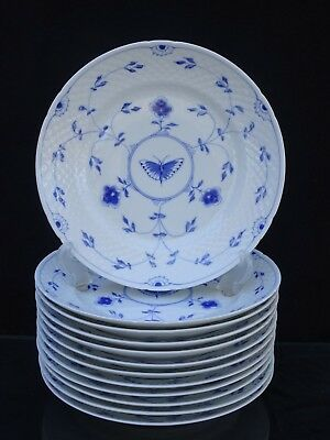 """12 Vintage Bing & Grondahl """"butterfly"""" 8 1/2"""" Luncheon Plates ~ #26 ~ Mint"""