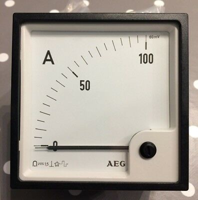 AEG 96x96 Din Ammeter Panel Meter. Range scale 0 - 100A 60mV I/P 90° scaling