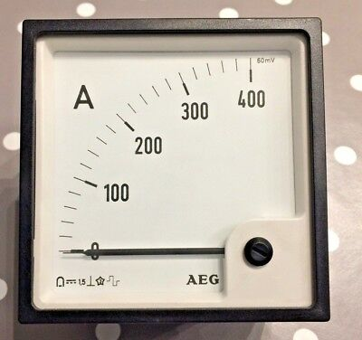 AEG 96x96 Din Ammeter Panel Meter. Range scale 0 - 400A 60mV I/P 90° scaling
