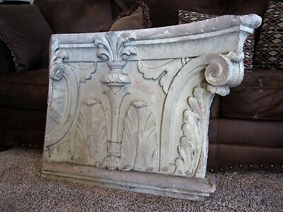 HUGE! 1927 Regal Theater Neoclassic Column Capital Primitive Ruin Shabby Panel