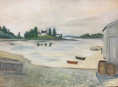 Maine Folk Art Seascape Signed 1948 Downeast Boat Shed Lobster Crate Inlet Bay