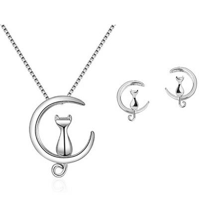 Cat Moon Stud Earring Pendant Necklace 925 Sterling Silver Womens Jewellery Gift