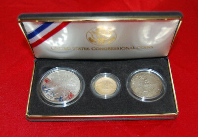 1989 Gold & Silver Congressional 3 Coin US Mint Proof Set / COA / $5 Gold Coin