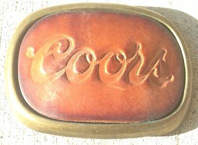 Vintage Coors Beer Leather Advertising Belt Buckle Nice Condition