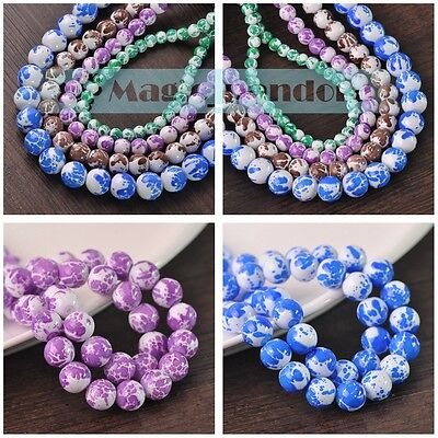 Charms 6/8/10/12mm Glass Czech Round Paint Loose Spacer Beads Jewelry Findings