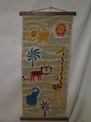 Vintage ANIMATS wall hanging by Happy Things Inc. lion tiger giraffe elephant