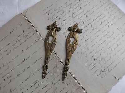 French antique  project cabinet furniture key hole plate ornate bronze awesome