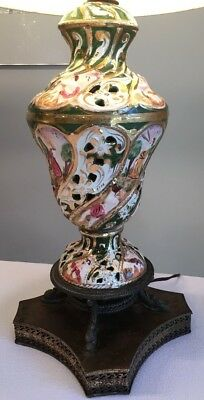 Italian SIGNED Capodimonte Table Lamp Hand Painted Porcelain from Italy