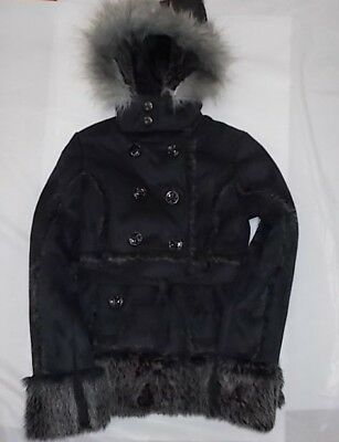 Girls Size 10-12 Black Faux Leather & Fur Hooded Pea Coat