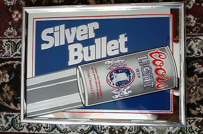 """Vintage Coors Silver Bullet Sign/Mirror 18"""" X 13"""" 1993"""