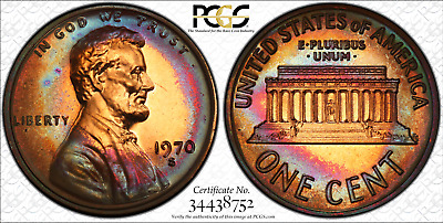 1970-S Lincoln cent proof - PCGS PR66 RB - excellent toning and color