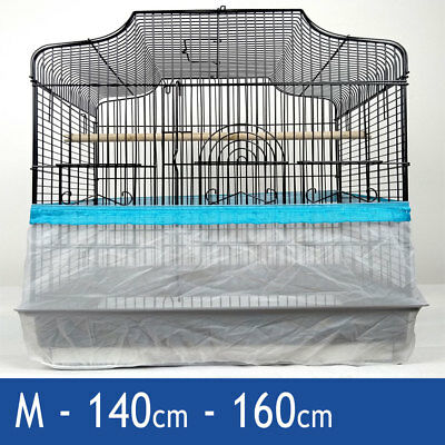 Blue Medium 160cm Seed Catcher Guard Cage Tidy Mess Protection Pile Bird Parrot