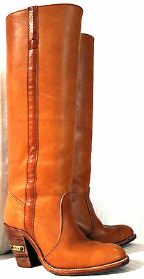 FRYE Campus 1970s VINTAGE Tall BOOTS Hippie Western Cowgirl Brown LEATHER  6B